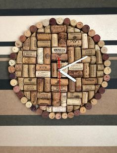 Explode the containers of mauve, but save your corks to create majority of these exciting grape cork crafting. Natural - Decorations, Home Decor in Oakville, Wall Decor Recycled cork wall art and handmade cork decorations. Wine Craft, Wine Cork Crafts, Wine Bottle Crafts, Diy Cork, Wine Cork Art, Wine Corks, Wine Cork Projects, Wall Clock Design, Wine Decor