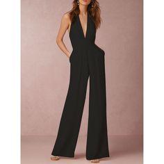 Halter Backless Black Jumpsuit ($30) ❤ liked on Polyvore featuring jumpsuits, backless jumpsuits, jump suit, backless halter top, halter tops and halter-neck tops