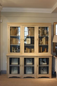 Etonnant A Good Quality And Of Simple Lines, Circa Three Door, Glazed Display Cabinet  / Bookcase.