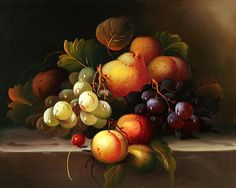 Classic Still Life Paintings   Classic Fruit Still Life - Cuisine, oil paintings on canvas.