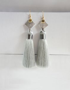 Items similar to Xmas gift for her, minimalist boho grey tassel earring, silver leather chunky modern earring, urban chic jewelry, boho fashion , for friend on Etsy