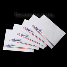 "$1.87 Wholesale - Paper Envelope Post Rectangle White Airplane ""Par Avion"" Pattern 16.1cm(6 3/8"")x 11.4cm(4 4/8"") , 50 PCs"