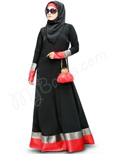 Beautiful Panel Umbrella Black Party Wear Abaya | MyBatua.com   Aroob Abaya !  Style No : AY-335  Shopping Link : http://www.mybatua.com/aroob-abaya  Available Sizes XS to 7XL (size chart: http://www.mybatua.com/size-chart/#ABAYA/JILBAB)  •Band collar with v cut •Panel umbrella cut design •Red & grey satin strips at bottom •Body fit sleeves with matching satin borders •Matching Square Hijab (100x100 cm approx.) and Band can be bought separately.