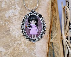This is adorable gift for every young women ... doll pendant necklace - cute girl with bird ! ❤️ #etsy #jewelry #necklace #pink #anniversary #easter #purple #for youngwomen #pendant #cutegirl #women