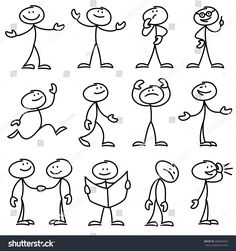 Cartoon hand drawn stick man in different poses vector set. Cartoon - People Photos - Ideas of People Photos - Cartoon hand drawn stick man in different poses vector set vector art illustration Doodle Sketch, Doodle Drawings, Easy Drawings, Cartoon Faces Expressions, Stick Figure Drawing, Black And White Cartoon, Stick Man, Sketch Notes, Free Vector Art