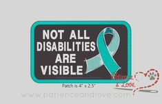 """1 Patch, Sew-on, 4 x 2.5"""", Not all disabilities are visible ribbon"""