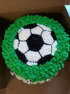 "Soccer Themed Cake Soccer theme 2 layer 10""Vanilla cake with rasberry whipped cream filling iced in almond buttercream"