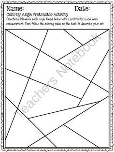 Color by angle protractor activity year 7 Teaching Geometry, Teaching Math, Math Resources, Math Activities, Geometry Activities, Math Teacher, Math Classroom, Fifth Grade Math, Fourth Grade
