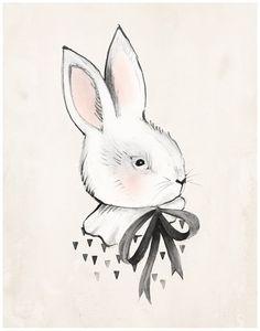 Bunny & Bow - 8 X 10, 11 X 14