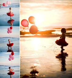Balloon picture at beach.