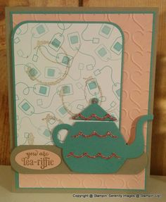I am loving the Occasions Catalog from Stampin' Up! For this card I used theA NiceCuppa Stamp Set along with the Cups & Kettles Framle...