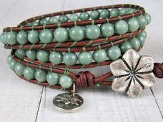 Boho Leather Wrap Bracelet For Women - Wrap Bracelet for Women - Green Jade and Leather Wrap Bracelet - Gift for Her Beaded Wrap Bracelets, Bracelets For Men, Bohemian Jewelry, Boho, Bohemian Style, Jewelry Gifts, Unique Jewelry, Pink Gemstones, Bracelet Designs