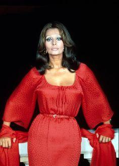 Sophia Loren in red by Reginald Davis