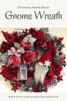 Christmas Wreaths for Front Door, Nordic Gnome, Christmas Mantel Coronas Navideñas para Puerta Princ Christmas Wreaths For Front Door, Christmas Mantels, Outdoor Christmas Decorations, Holiday Wreaths, Holiday Decor, Handmade Wreaths Christmas, Winter Wreaths, Snowman Decorations, Spring Wreaths