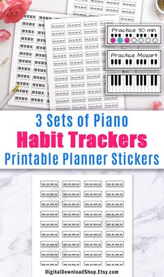 Printable planner stickers- piano habit tracker stickers for any planner, including Erin Condren's Life Planner. | #plannerStickers #printable #habitTracker #DigitalDownloadShop Academic Calendar, School Calendar, Printable Planner Stickers, Printables, Keyboard Stickers, Erin Condren Life Planner, Piano Lessons, Retail Therapy, Happy Planner