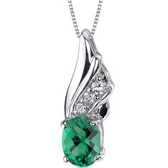 1.00 Carat Simulated Emerald Pendant Necklace in Sterling Silver Rhodium Nickel Finish * See this awesome image  : Fashion Jewelry