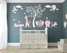 Jungle Animals Wall Stickers Girls Pink and Grey nursery Decals. Giraffe and Elephant around a white tree mural.