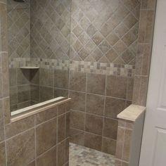 walk in shower designs no door | Traditional Bathroom walk-in shower Design Ideas, Pictures, Remodel ... Shower Tile Designs, Walk In Shower Designs, Master Bathroom Shower, Small Bathroom, Bathroom Showers, Bathroom Ideas, Bathroom Remodeling, Bathroom Modern, Bath Ideas