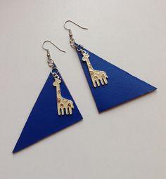 Blue leather giraffe earrings by PokeysWorld on Etsy https://www.etsy.com/listing/218138905/blue-leather-giraffe-earrings