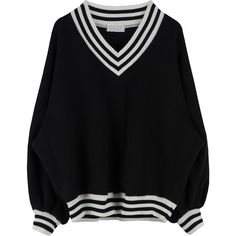 Striped Trim Baggy V-Neck Sweatshirt (120 BRL) ❤ liked on Polyvore featuring tops, hoodies, sweatshirts, sweaters, relaxed fit tops, long sleeve tops, long sleeve v neck top, baggy sweatshirts and v-neck tops