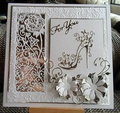 Made by Viki Thompson - Tattered lace dies used are Peony panel, High heel glam & Christine trio. 8x8 White pearl card & silver mirri .