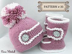 Knitting PATTERN Baby Set Baby Shoes Baby Uggs von Solnishko43