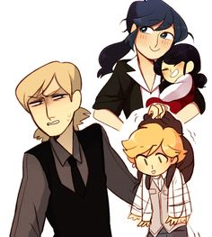 "I like how in this one big mari is holding little mari all loveingly and then there is Felix who is just like ""what is this thing!?"" And looks all grossed out by Adrien"