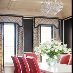 DINING ROOM How to combine shutters with curtains to create height and beauty. Coral Seat covers as opposed to coral China cabinet Window treatments with valance formal but simple and elegant Shutters With Curtains, Black Curtains, Window Valances, Patterned Curtains, Drapes Curtains, Estilo Interior, Home Interior, Interior Design, Interior Ideas