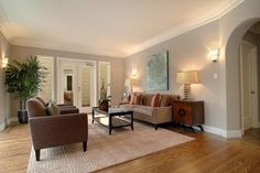 grey walls with white crown molding