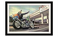 "David Mann Motorcycle Art Print ""Welcome Home"" Vintage Print"