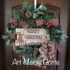 Merry Christmas Wreath, Rustic Wreath, Western Wreath, Cowboy Wreath, Americana www.facebook.com/artmeetshomedecor Christmas Art, Christmas Wreaths, Western Wreaths, Cowboys Wreath, Decorative Items, Centerpieces, Rustic, Holiday Decor, Facebook