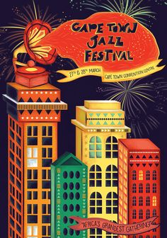 A student project poster design #Studentproject #Poster #posterdesign #illustration #Jazz #Jazzfestival #fireworks #Music #Buildings #isometric #Illustrated #type #CapeTown #Cityatnight #Rhythm