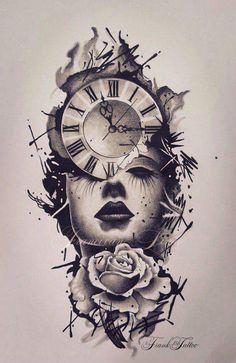 Clock Tattoo - Over 300 Image Ideas - - Tattoos - Tattoo Designs For Women Coeur Tattoo, Mädchen Tattoo, Tattoo Drawings, Body Art Tattoos, New Tattoos, Tattoos For Guys, Soft Tattoo, Wrist Tattoos, Mandala Tattoo