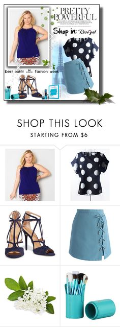 """""""Plus Size Scoop Neck Polka Dot Pattern Short Sleeves Blouse"""" by pantarei85 ❤ liked on Polyvore featuring Avenue, Halston Heritage, Chicwish, polkadot, rosegal and tblouse"""