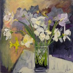 Lila Bacon Artist-Contemporary Impressionist Floral Painting Daffodils 2015 c-lb171