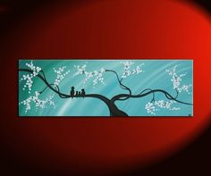 Bird Family Painting Original Modern Textured Tree Blossom Art Blue Sky on Stretched Canvas Custom Personalized 36x12 via Etsy
