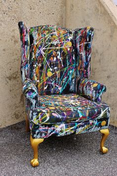 I found an old chair on the side of the road with a sign taped to it saying: the universe provides freely. I found an old chair on the side of the road with a sign taped to it saying: the universe provides freely. Art Furniture, Graffiti Furniture, Funky Painted Furniture, Unique Furniture, Repurposed Furniture, Furniture Projects, Furniture Makeover, Furniture Design, Chair Design