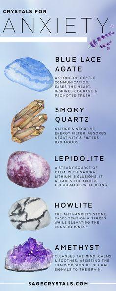 Crystal Magic, Crystal Healing Stones, Crystal Grid, Stones And Crystals, Crystal For Anxiety, Anxiety Crystals, Minerals And Gemstones, Rocks And Minerals, Crystal Meanings
