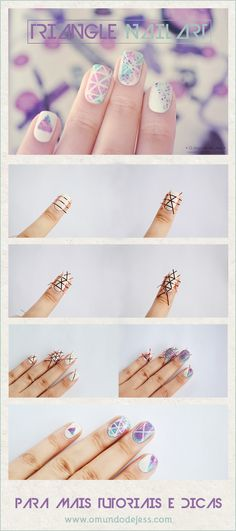 Triangle Nail art tutorial www.omundodejess.com