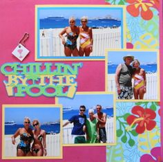 Los Cabos Travel scrapbook page with the title Chillin' by the Pool from Cricut's Pack Your Bags