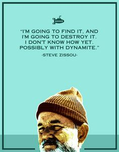 Steve Zissou- 8x10 -life aquatic, humor, funny, typography, retro, movie poster, film, bill murray