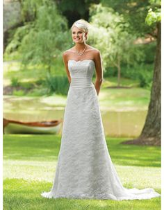 Affordable Vintage A-Line Strapless Sweep Train Lace Wedding Dresses
