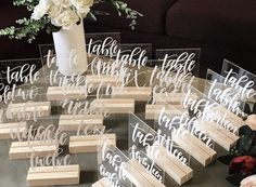 Acrylic Perspex table numbers. Wedding and event Signage. Table settings, wedding decor. Luxe modern wedding. White wedding