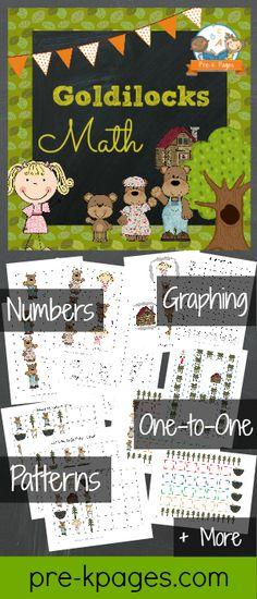 Goldilocks and the Three Bears Printable Math Activities for #preschool and #kindergarten