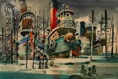 Dong Kingman - Brooklyn Tug Boats, c. 1946, California art, original California watercolor art for sale, fine art print for sale, giclee watercolor print - CaliforniaWatercolor.com