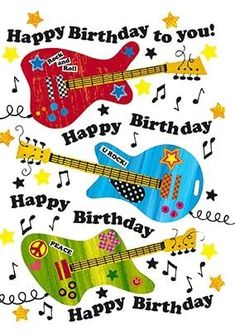 Birth Day QUOTATION – Image : Quotes about Birthday – Description Happy Birthday Guitars Card Sharing is Caring – Hey can you Share this Quote ! Happy Birthday Wishes Cards, Birthday Blessings, Birthday Wishes Quotes, Happy Birthday Images, Birthday Greeting Cards, Card Birthday, Happy Birthday Guitar, Birthday Clips, Personalised Cards