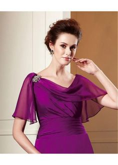 Buy discount Exquisite Chiffon A-line Cowl Neckline Tea-Length Mother of the Bride Dress at Magbridal.com