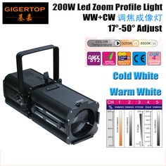Factory Sales 200W Warm Cold White Led Ellipsoidal Reflector Spotlight 2in1 Optional 3200K + 6500K White Zoom Focus TP-005