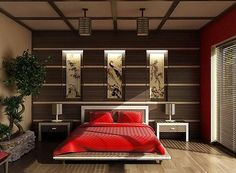 Japanese style bedroom with red bedding