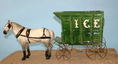 Dobbin in white with Ice Wagon #632 Note:  undercarriage for the ice wagon has rear steps